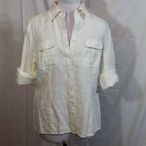 EUC Grace Elements White Linen Button Down Large